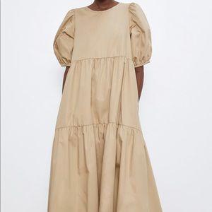 Zara poplin asymmetrical dress bloggers favorite S